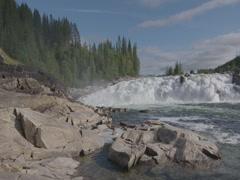Rapids waterfall lake water norway nature Stock Footage