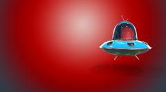 Flying saucer red background - stock footage