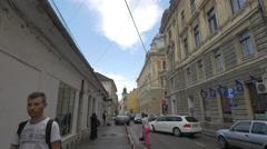 Walking on Bolyai Janos Street in Cluj-Napoca Stock Footage