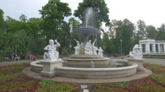 Beautiful fountain with sculptures in Central Park, Cluj-Napoca Stock Footage