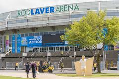 Preparing the Rod Laver Arena for Australian Open - stock photo
