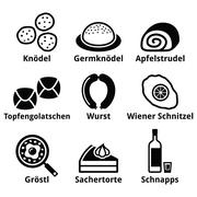 Austrian food - traditional meals an drink icons set - stock illustration