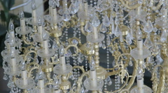 Golden luxury ceiling crystal chandelier lighting Stock Footage