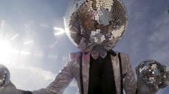 disco mr discoball party music club entertainment sky - stock footage