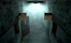 Mental Asylum Haunted - stock illustration