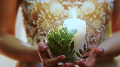 Wedding candles in hands Stock Footage