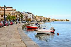 Esplanade alongside the bay in the town of Zakynthos - stock photo