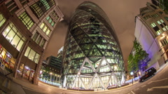 gherkin london fish eye city building night architecture - stock footage