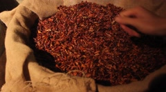 Barrel of Chili Peppers Stock Footage