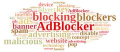 Word cloud on ad blockers. - stock illustration