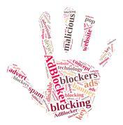 Word cloud on ad blockers. Stock Illustration