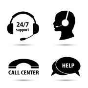 Call center service icons set Piirros