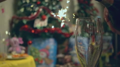 Sparkling wine in a glass Stock Footage