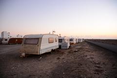 Caravan Park in the Desert - stock photo