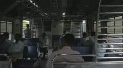 Mumbai Local Train Interior - Passenger point of View Stock Footage