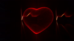 Red Heart with Heartbeat Cardiogram Background. Stock Footage