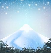 Winter snowfall drop mountain on blue background - stock illustration