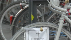 View of a bike monument of bikers who died in road accidents in Cluj-Napoca Stock Footage