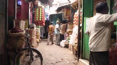Moving through market bazaar in India smooth tracking shot Stock Footage