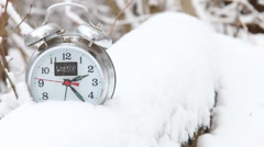 Winter text and alarm clock - stock footage