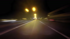 Forward POV camera night drive time lapse Stock Footage