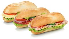 Collection of sub sandwiches baguettes with salami, ham and cheese isolated Stock Photos