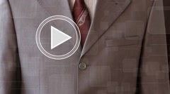 Businessman press play button chart web diagram business communication - stock footage