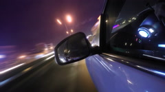 Side mirror night drive timelapse Stock Footage