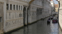 Gondolas and boats on Rio de Palazzo, Venice Stock Footage