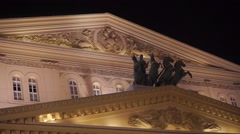 Chariot sculpture above fronton of Moscow Bolshoi theater - stock footage