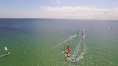 Windsurfer on fehmarn island baltic sea Stock Footage