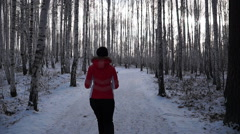 Woman likes to run in the winter forest Stock Footage