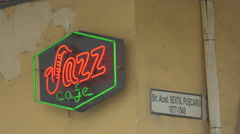 Jazz Cafe logo on an old building in Cluj-Napoca Stock Footage