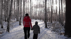Woman walking with a child in the winter forest Stock Footage