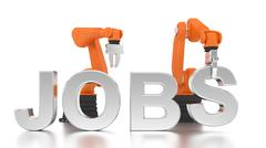 Industrial robotic arms building JOBS word Stock Illustration