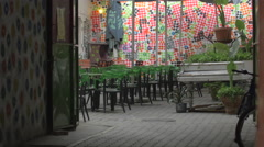 View of Sisters Cafe on Universitatii street in Cluj-Napoca Stock Footage