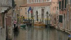 Boats sailing on Rio de San Polo in Venice Stock Footage
