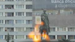 Mihai Viteazul statue in Cluj-Napoca Stock Footage