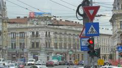 Traffic on Regele Ferdinand street in Cluj-Napoca Stock Footage