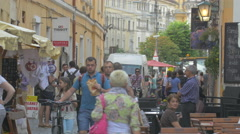 Walking on Materi Corvin street in Cluj-Napoca Stock Footage