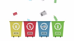 Recycle Concept - Recycle Bins set with different colors. Stock Footage