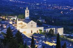 Basilica of St. Clare of Assisi at night - stock photo