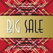 Golden red sale banner template in art deco outline style - stock illustration