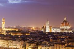 Stock Photo of Duomo Santa Maria Del Fiore and Palazzo Vecchio