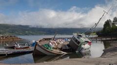 Sunken boat lake water norway nature timelapse Stock Footage