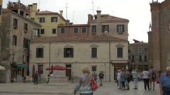 Tourists walking on Fondamenta Frari in Venice Stock Footage