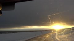 Sunset in the shortest of sunlight in iceland,car view,on the road Stock Footage