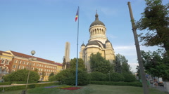 The Soldier Monument and the Dormition of the Theotokos Cathedral, Cluj-Napoca Stock Footage