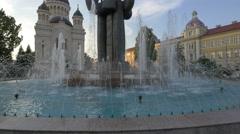 Avram Iancu statue fountain in Cluj-Napoca Stock Footage