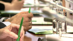 The hands of the politicians at the meeting . Stock Footage